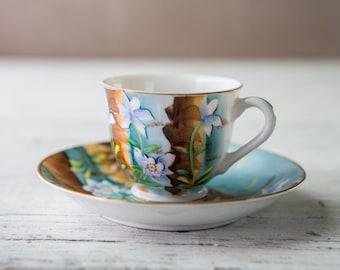Vintage Rare Colorado Columbine Fine Bone China Collectible Tea Cup and Saucer-Food Photography Props