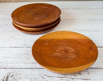 "Set of 4 11"" Wood Plates-Food Photography Props"
