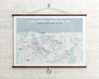 Saint Gervais Ski Piste Map, Ski Print, Trail Map, Ski Art,  Snowboard Art, Ski Gifts, Gifts for him or her
