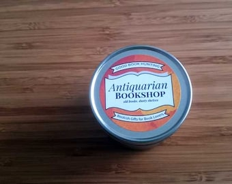 Antiquarian Bookshop | Book Candle | Scented Soy Candle | Book Lover Gift | 4oz tin | Vegan | A Bookish Candle | Good Book Hunting