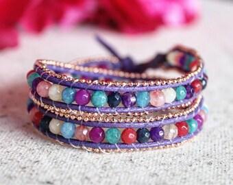 Purple Leather Wrap Natural Stone Bracelet