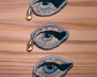 Sad Girls Club Lover's Eye blue tear drop hand embroidered brooch/pin