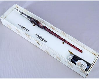 Murano glass pen with ink.
