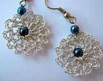 """Crochetted Earrings """"Blue Twins""""/ Handmade Crochetted Jewelry/ Silver Earrings"""