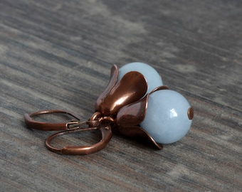 small Flower Earrings made of copper with jade in pastel blue