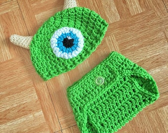Monster Inc, Newborn Outfit, Newborn Photo Outfit, Newborn Set, Newborn Monster Inc, Newborn Crochet, Baby Hat, Crochet Baby Outfit, Mike