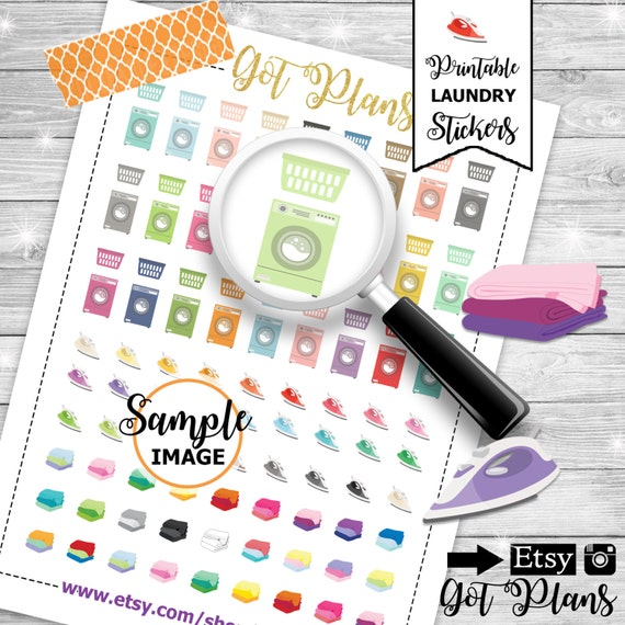 Laundry Planner Stickers Laundry Stickers Printable