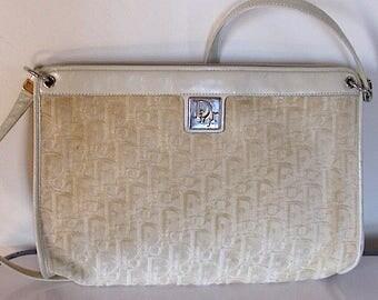 Vintage Genuine Christian Dior Leather and Canvas Shoulder Bag 1970's