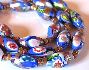 Vintage Millefiore Venetian Necklace, 1920s, oval Beads, Colorful Murano Glass