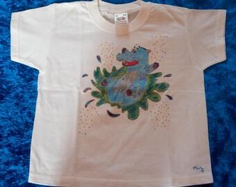 Kids T-Shirt 3 / 4 years, pattern hand-drawn, hippo player, Animal