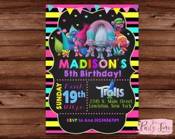 Trolls Invitation - Trolls Party - Trolls Birthday Invitation - Trolls Birthday Invite.
