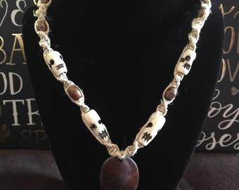 Handmade hemp necklace made with bone beads
