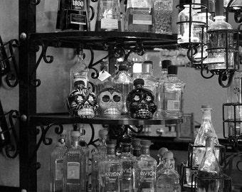 Bar art, bottles wall art, black and white skull wall art, pool room photography, den wall art, den photography, tequilla  8x12 size