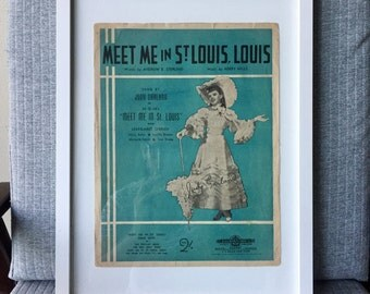 Framed Meet Me In St Louise Music Book Judy Garland MGM Film Modern White Frame