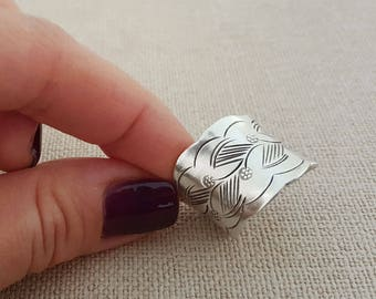 Handcrafted Boho Style Wide Band Sterling Silver Floral Ring, Handmade Silver Cuff Ring (RING0001)