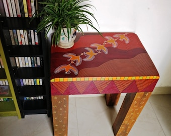 Boho Red Wooden Upscaled Coffee Table End Table Side Table with Hand-painted Waves and Birds Warm colours Quirky Bohemian Indian Home