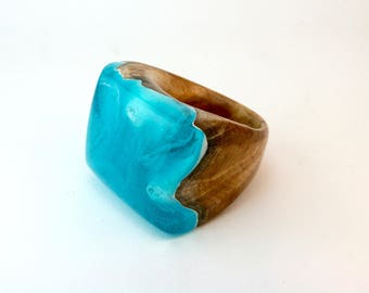 Resin and Wood Ring-Eco Resin and Wood-Wooden Jewelry-Cocktail Ring-Statement Ring-Womans Ring-Resin Jewelry-Wood Ring-Nature Jewelry