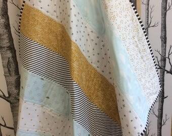 Baby Toddler Boys Girls Patchwork Cot Handmade Quilt Blue Gold Grey Quilt