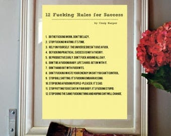 Print, Printable 12 F#*!ing Rules for Success