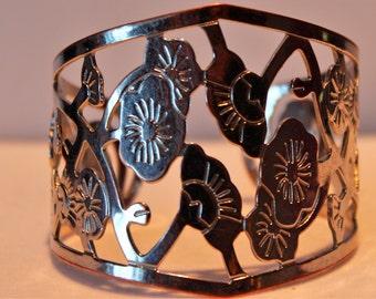 Vintage Silver Tone Flower Cuff Bracelet