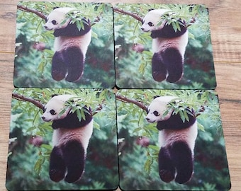 Hang In There Panda Fabric Coasters Individual/Set