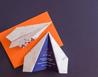 Paper Plane | Birthday Invite | Children's Birthday Party | Kids Party Invites | Party Invitations