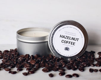 Hazelnut Coffee Candle / Scented Soy Candle Tin / Hand Poured Soy Candle
