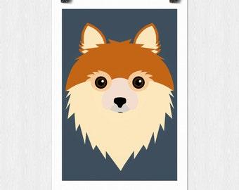 Pomeranian Dog Vector Print - Instant Download 11x17