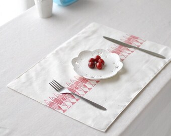 Lucky Fish in Japanese style placemat, basic linen placemats, soft linen fabric, Dining placemats