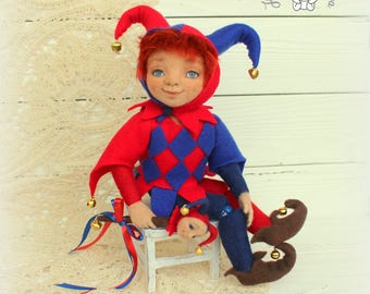 Needle felted doll Harlequin,needle felted toys,OOAK doll,doll,collectible doll, interior doll, art doll,needle felted toy, interior toy