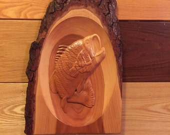 Leaping Bass 3D Cherry Plaque