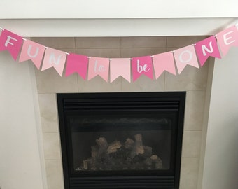 Fun To Be One Banner, First Birthday Banner, 1st Birthday Banner, Photo Prop, Party Decorations, Pink, Shimmer, Cake Smash