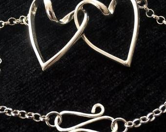 S064 Sterling Silver Double linked Heart Bracelet