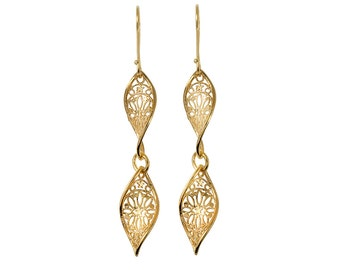 Gold Plated Dangling Holiday Earrings