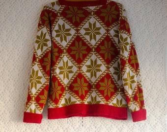 Vintage 1960s red and gold snowflake jumper/sweater - Bobbie Brooks Ski Looks US label - Small/Medium