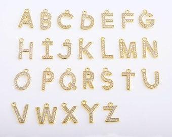 Initial charm/pendant/necklace,14K gold initial charm/pendant/necklace, CZ zircon micro pave initial charm, A-Z 26pcs