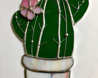 Stained glass cactus in pot sun  catcher, glass cactus potted plant with flower home decor tiffany