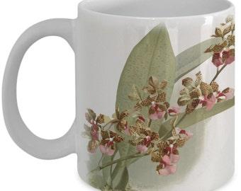 Coffee mugs w/ orchids flowers: botanical prints - Oncidium lanceanum