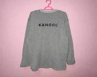 Rare!! Vintage Kangol Small Logo Striped Spellout Sweatshirt