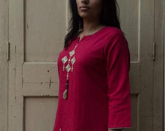 Royal Pink Kurta with Beige Embroidery.