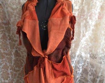 Orange patchwork upcycled sleeveless sweater