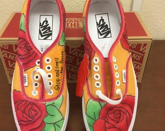 Custom Rose Vans // floral // vans // custom shoes // roses // beauty // sneakers // custom // shoes // gifts for her // womens clothing