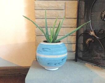 "SOUTHWESTERN POTTERY, POTS, Southwest Pottery, 8"" Terra Cotta Planter, Mexican Planter, Blue, Birds, Large Round Planter, 8"" Planter"