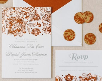 COPPER FOIL Wedding Invitations   Names in Real Gold Foil, Copper Foil, or Rose Gold Foil   Burns Lane Suite   SAMPLE