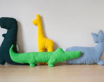 Animals Pillow | Animal Cushion, Giraffe Pillow, Crocodile Pillow, T-Rex Pillow, Dinosaur Pillow, Whale Pillow, Throw Pillow