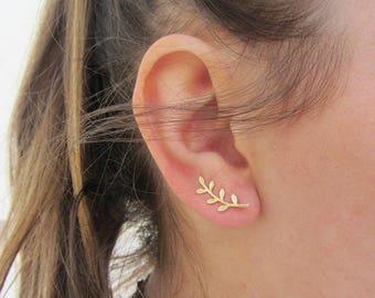 Ear climber earrings, dainty earrings, minimalist earrings, leaf climber, dainty climbers, gold ear climber, Ear crawler, sterling silver