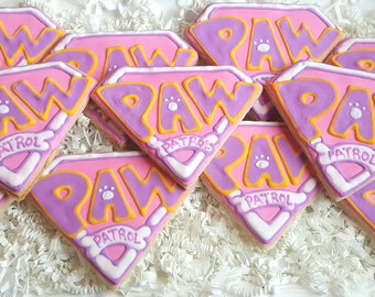 12 Sky Pink Paw Patrol Cookies Party Favors