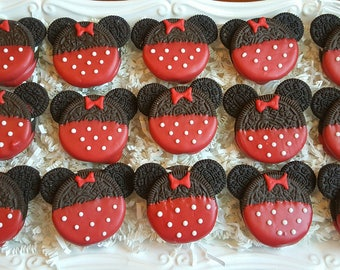15 Red Minnie Mouse and 15 Mickey Mouse Oreo Cookies