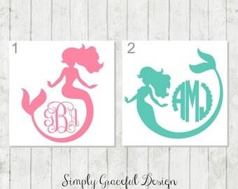 Mermaid Monogram Decal - Mermaid Decals - Personalized Mermaid - Mermaid Car Decal - Mermaid Party Favors - Ocean Life Decal  - Mermaid Gift