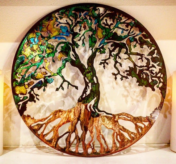 Metal Wall Decor Etsy : Metal tree art wall family
